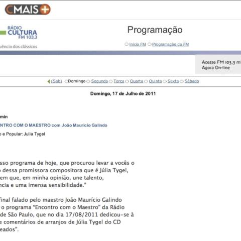 Programa Encontro com o Maestro - por João Maurício Galindo - Rádio Cultura (Entremeados)